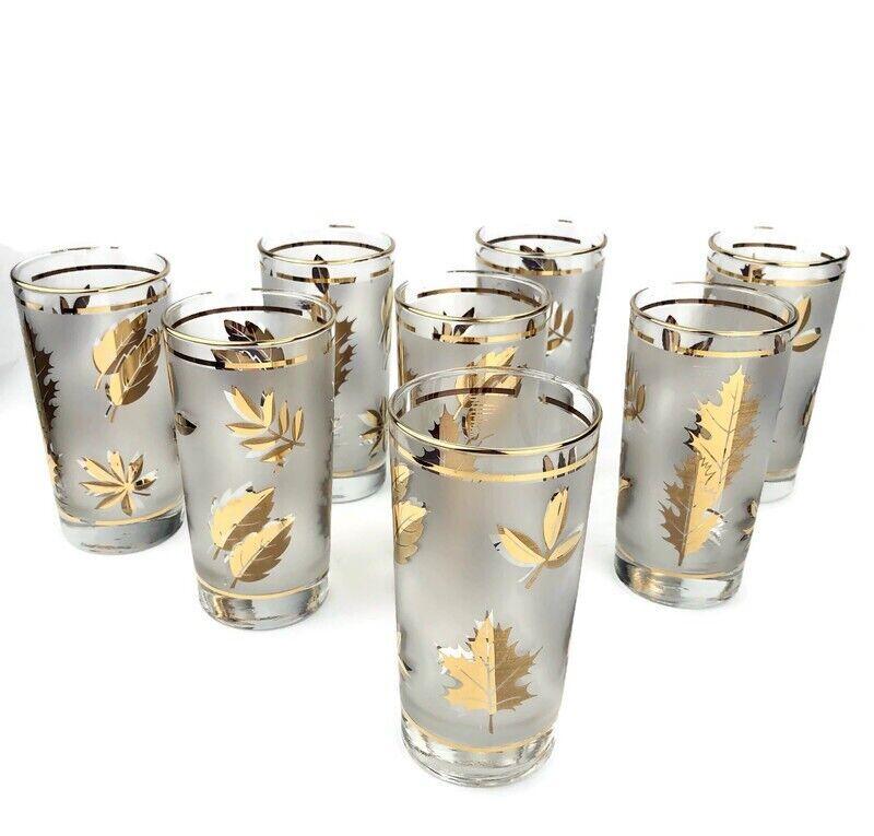 Set of 8 Vintage Libbey Retro Frosted Gold Leaf 12 oz Glasses Barware Free Ship