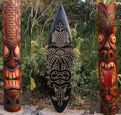 "Tribal Tiki Mask Package Deal Wood Patio Tropical Bar Decor 40""  2- masks 1-surf"