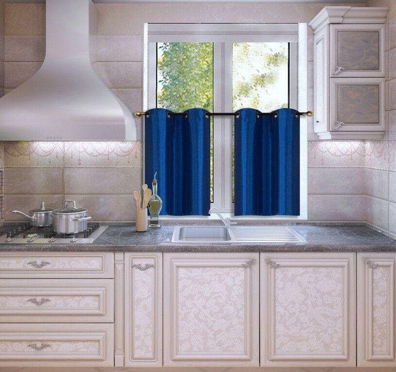 Kitchen Grommet Tier Window Curtain Panels Insulated Blackou