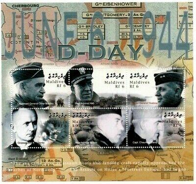 MODERN GEMS - Maldives - D-Day Gen. Bradley - Sheet Of 6 - MNH