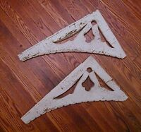"brackets - antique white crackle paint brackets 19 3/4"" tall, KM"