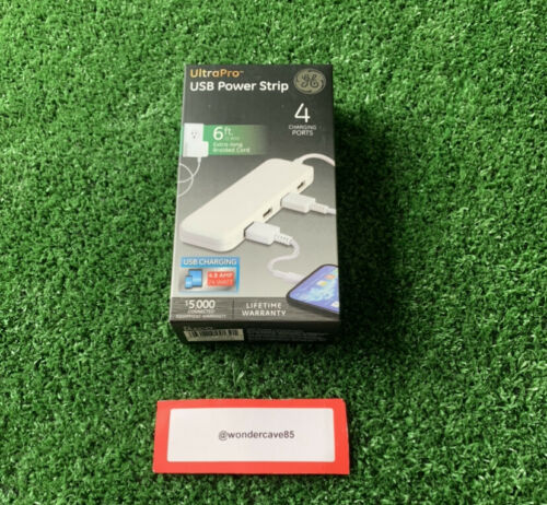 New Ultra Pro USB Power Strip 6 Ft Long Braided Cord Slim - White/ 4 Charging Po