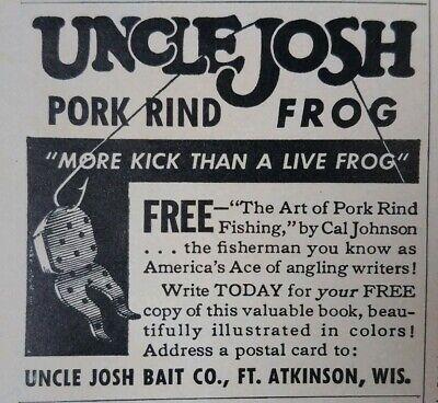 Uncle Josh Pork rind #23 Black Kicker Frog Bass Jig Trailer bait new sealed