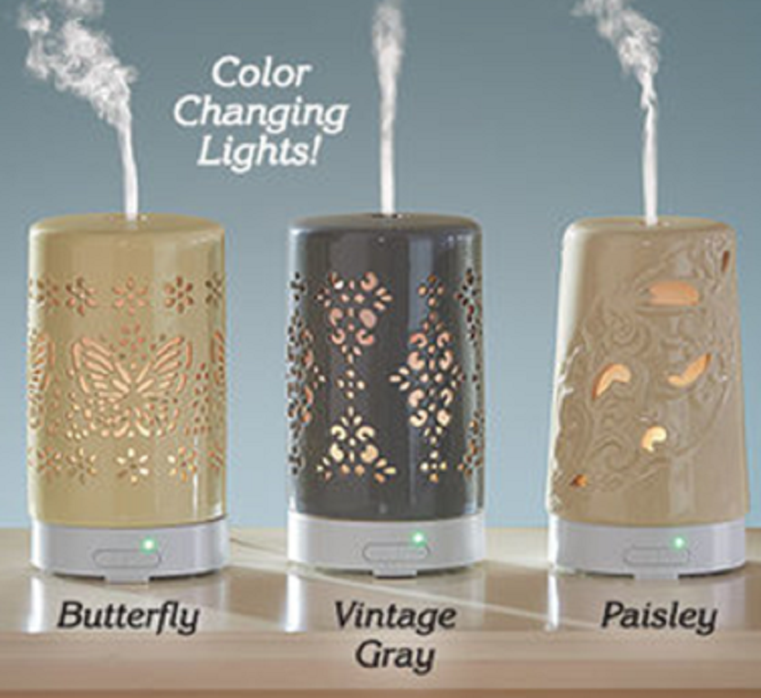 Ultrasonic DIFFUSER Ceramic Lights up in 7 soothing colors ultrasonic waves NEW Home & Garden