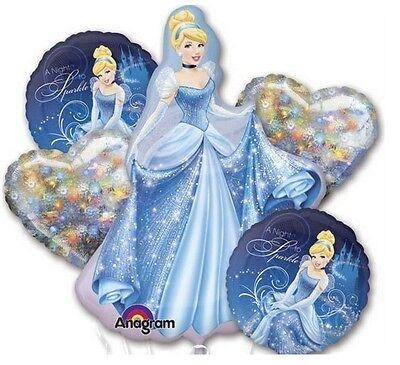 Disney Cinderella Birthday Party Favor Supplies 5CT Foil Balloons Bouquet - Cinderella Birthday Supplies