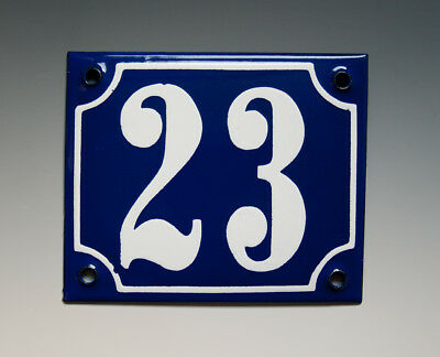 EMAILLE, EMAIL-HAUSNUMMER 23 in BLAU/WEISS um 1950