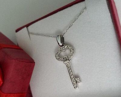 Diamond Key Charm - Diamond Key Charm Pendant for Necklace 14K Solid White Gold 0.35 ct Free Chain