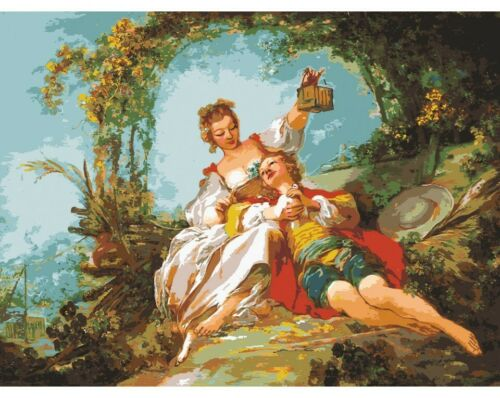 """""""Lovers"""" Printed Needlepoint Tapestry  Canvas 15507"""