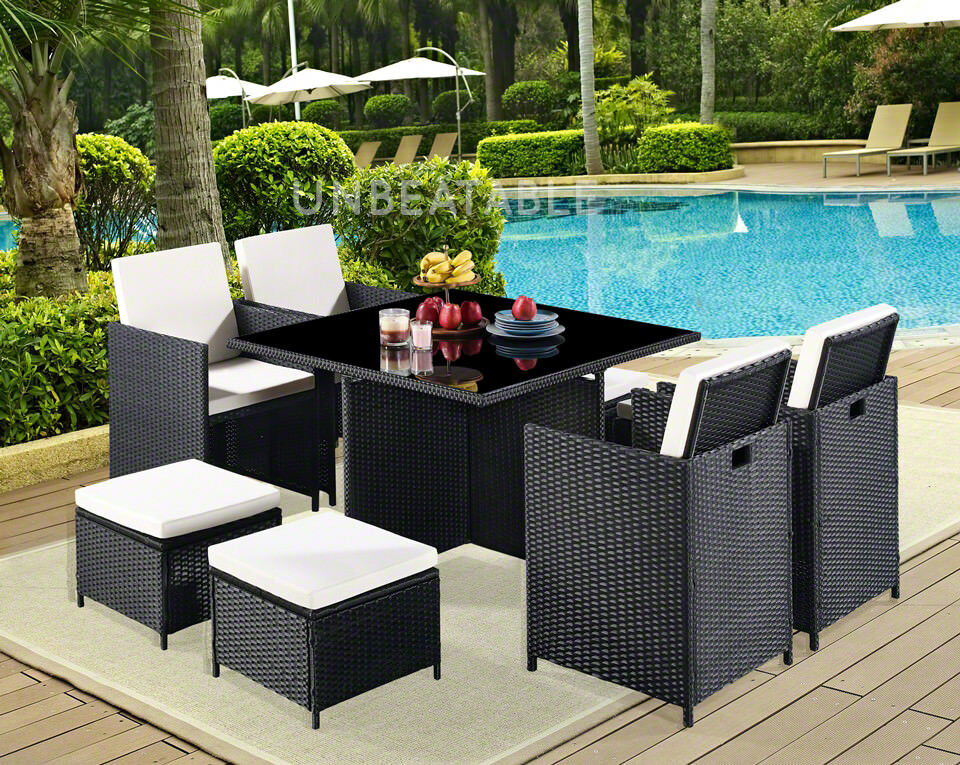 Garden Furniture - Cube Rattan Garden Furniture 9 Piece Set Colour Choice and with Cover Option