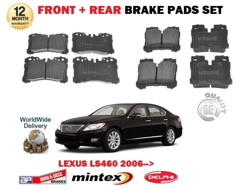 FOR LEXUS LS460 1UR-FSE 32v 2006-> NEW FRONT + REAR BRAKE DISC PADS SET