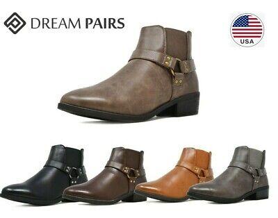 DREAM PAIRS Women's Low Heel Ankle Boots Casual Zipper Buckl