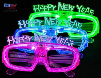 Happy New Year Party Sunglasses Light Up Glasses Glowing Eyes LED Flashing Shade (Happy New Year Glasses)