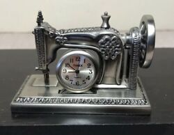 metal Miniature Timex Desk Clock old fashioned antique Sewing Machine novelty