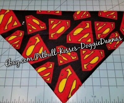 DOG BANDANA Sz XS-L Over Collar SUPERMAN Red Yellow Black Emblems FLANNEL Heroes - Superman Dog