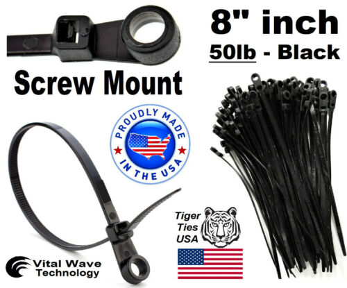 "100 Screw Hole Mount 8"" inch Wire Cable Zip Ties Nylon Wraps 50lb Black USA Made"