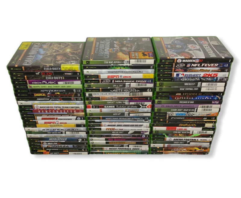 Lot Of 71 USED XBox Games: Call Of Duty Hulk Spiderman Nascar WWF Raw Untested