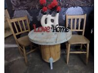 Stunning Cable Drum Shabby Chic Table & 2 Chairs - UK Delivery