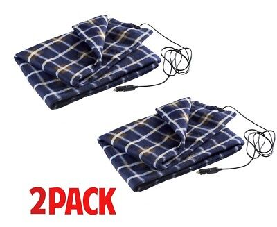 Warm Cozy Blue Plaid [Pack of 2] Electric Heated Car 12V Throw Blanket