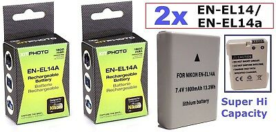 2-Pcs EN-EL14a Battery For Nikon D5500 D5200 D5300 D3200 D3300 D3100 Df for sale  Shipping to India