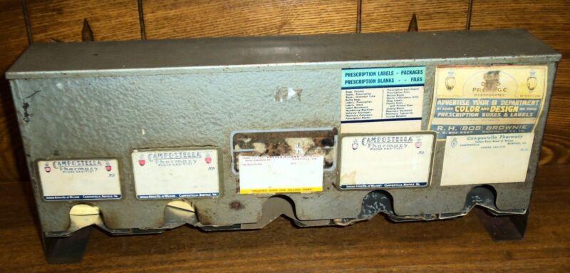 Old / Antique Pharmacy Prescription Label Dispenser Box