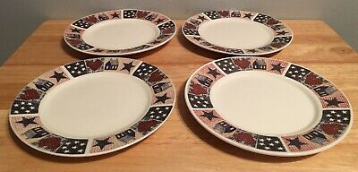 "Dessert Plates Set Of 4 American Quilt Memorial Day Veterans 4th Of July 6 1/2""](Fourth Of July Plates)"