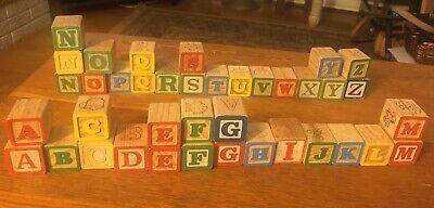 41 Wood Blocks Alphabet Numbers Pictures Baby Learning Vintage ABC Complete