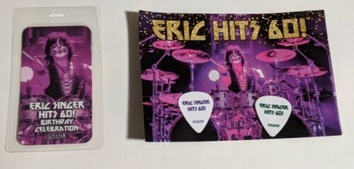 KISS ERIC SINGER 60th Birthday Party Invitation Laminate and set of guitar picks