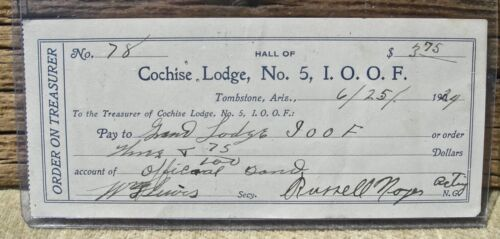 ca 1924 TOMBSTONE ARIZONA AZ (COCHISE COUNTY), LODGE RUSSELL SIGNED DOCUMENT