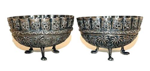 Pair Vintage Indian Pure Silver Tripod Pierced Jungle & Animal Motif Bowls (ThB)