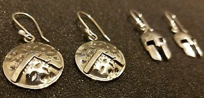 Silver Spartan earrings helmet and shield designs. - Spartan Shield Design