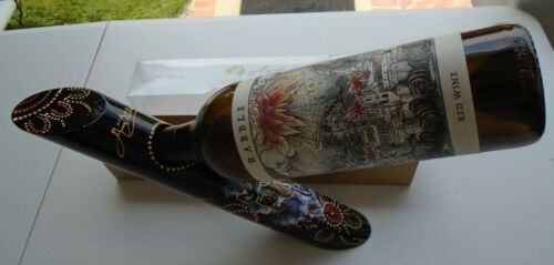 Wine Bottle Holder Australian Aboriginal Art Hand Painted Balancing