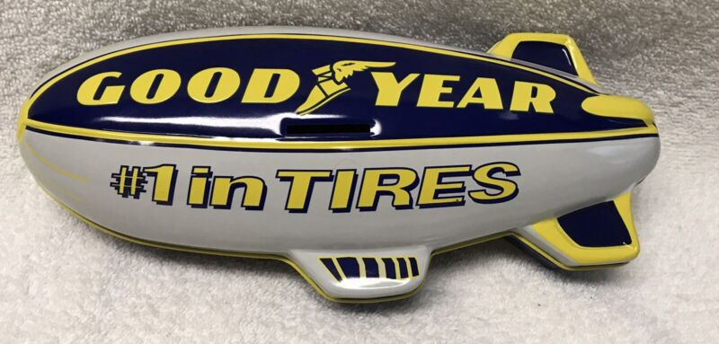 """Goodyear #1 IN TIRES Blimp shape Bank 11"""" METAL 2-pcTin Container Winged Foot"""