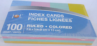 Index Cards Ruled Colored Blue Red Green Yellow 3 X 5 Inches - 100 Countpack