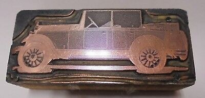 Vintage Letterpress Printing Block Cut Antique Old Car With Spare Tire