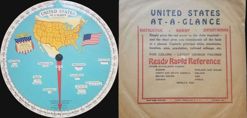 1931 International At-A-Glance Chart Company Map of the United States