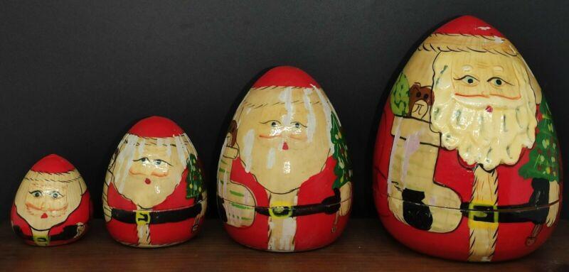 Santa Christmas Nesting Dolls Set Of 4 *Read Discription*