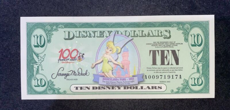 2002 100 years of magic Series $10 Tinker Bell Disney Dollar Uncirculated
