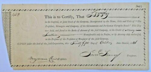 USA share Germantown Perkioman Turnpike Road 1826 document certificate, 50 share