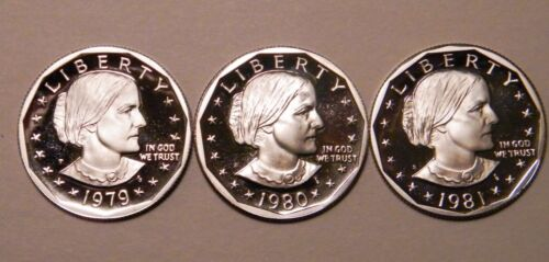1979 1980 1981 S Susan B Anthony Gem Proof Dollar Run CN-Clad Type 1 US Coin Set