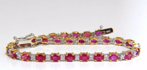 6.82ct Natural Bright Vivid Red Ruby Diamonds Tennis Bracelet 14kt