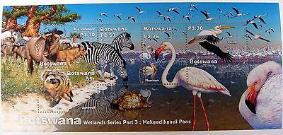 2002 BOTSWANA WILD ANIMAL STAMPS SHEET WETLANDS 3 WILDLIFE STAMPS ZEBRA FLAMINGO