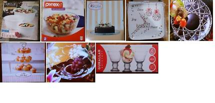 NEW KITCHENWARE - CORELLE / PYREX / TRAY – ALL BOXED – 40% off