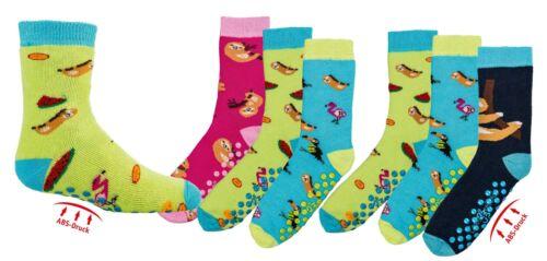 Kindersocken Stoppersocken Faultier Motiv Socken mit rutschfester Sohle 6 Paar