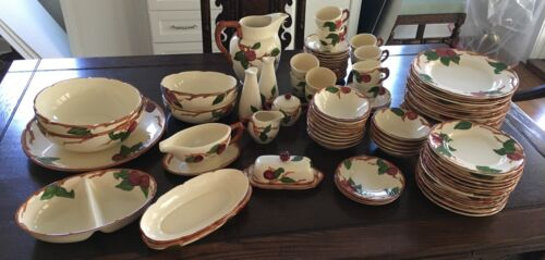 Vintage FRANCISCAN APPLE Dishes Set of 89 pieces (12, 5-piece place-settings)
