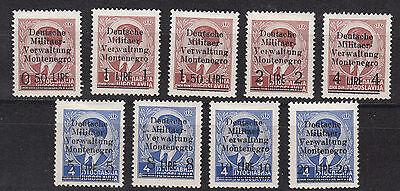 Montenegro, Nr. 1-9, ungebraucht