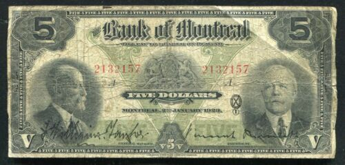 1923 $5 THE BANK OF MONTREAL MONTREAL, PQ BANKNOTE CH. #505-56-02