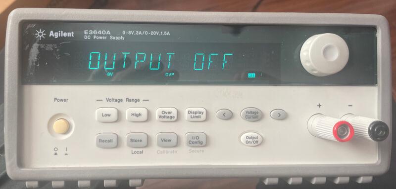 Agilent E3640A DC Power Supply 0-8V 3A/0-20V 1.5A