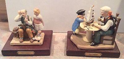 2 Norman Rockwell Porcelain Figurines The Cobbler & Sea Captain Wood Base