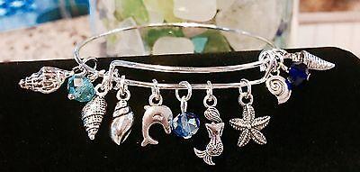 Mini Sea Shells  Mermaid   Dolphin Silver Charm Expandable Bangle Bracelet