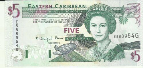 EASTERN CARIBBEAN 5 DOLLARS 1994  P 31. GRENADA. UNC CONDITION. 8RW 25OCT